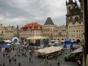 View from my hotel of marathon festivities in old town Prague