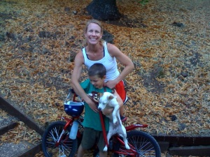 Mommy, Reece, and Wishbone arrive home from adventure