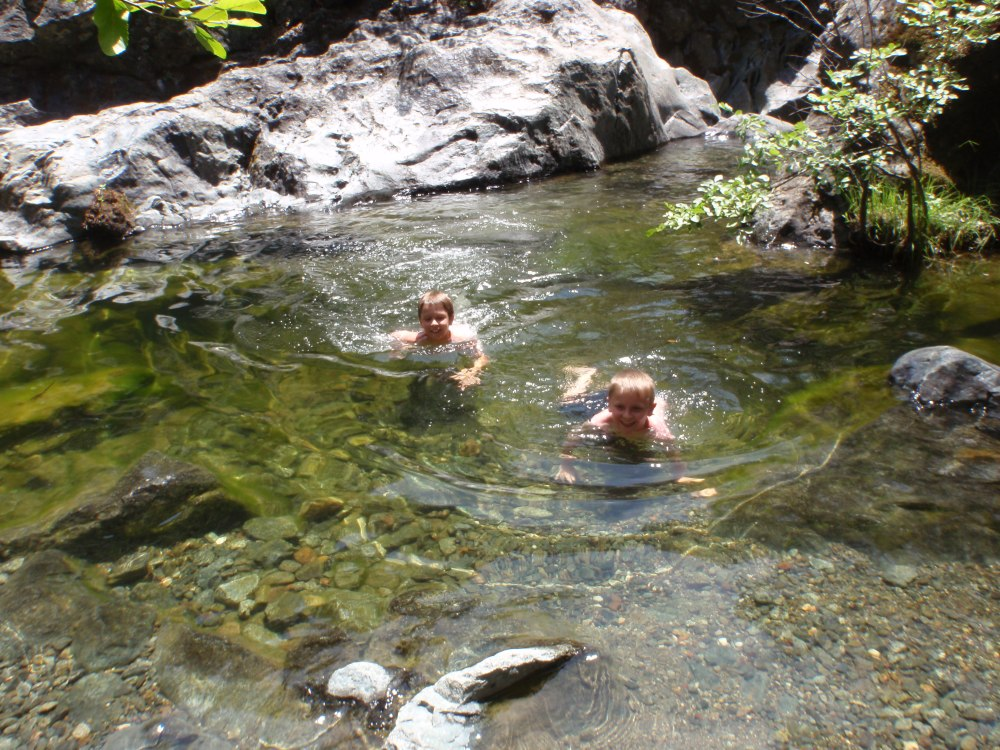 Unexpected swimming hole, 2-miles into the West trail
